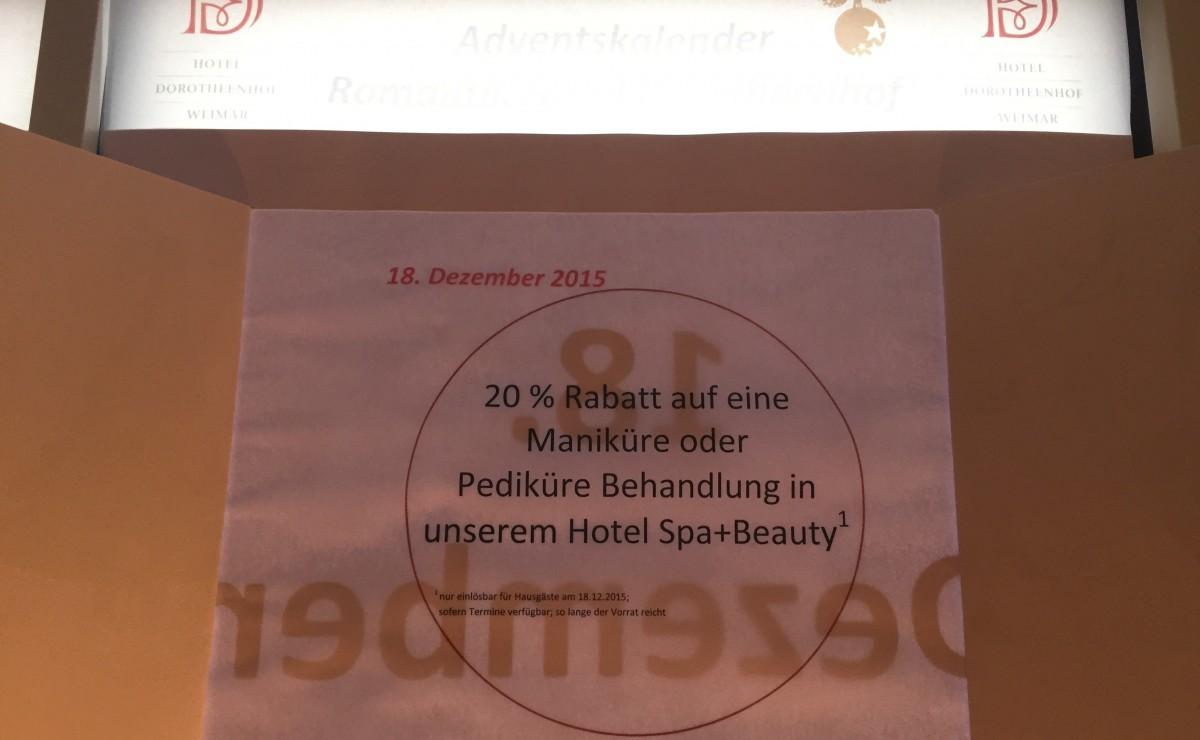 ... das 18. Türchen ist geöffnet ... ⋆ Wellnesshotel Weimar