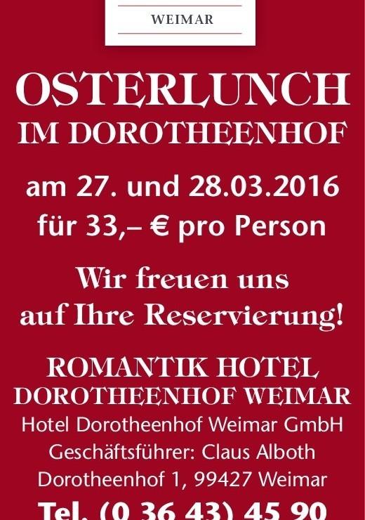 Ostermontag im Dorotheenhof ⋆ Wellnesshotel Weimar