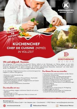 Mitarbeiterin / Mitarbeiter Küchenchef – Chef de Cuisine (w/m/d)